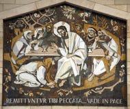 Η Mary Magdalene πλένει τα πόδια του Ιησού Στοκ Εικόνα