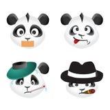 Η Panda αντέχει τα εικονίδια συγκίνησης, διανυσματικό σχέδιο Στοκ Εικόνα
