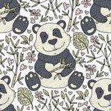 Η Panda αντέχει το διάνυσμα απεικόνισης με το μπαμπού Συρμένη χέρι κάρτα κινούμενων σχεδίων Στοκ Φωτογραφία