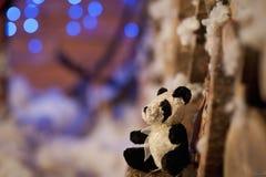 Η Panda αντέχει το παιχνίδι χριστουγεννιάτικων δέντρων το μπλε detalis Στοκ φωτογραφία με δικαίωμα ελεύθερης χρήσης