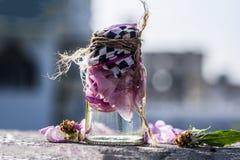 Η Rosa, αυξήθηκε νερό με τα φύλλα ευεργετικά για τα προϊόντα τρίχας, δερμάτων και ομορφιάς Στοκ φωτογραφίες με δικαίωμα ελεύθερης χρήσης