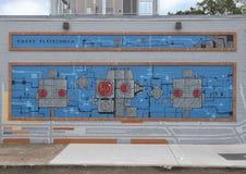 Η sci-Fi η τοιχογραφία τέχνης τοίχων σε βαθύ Ellum, Ντάλλας, Τέξας Στοκ φωτογραφία με δικαίωμα ελεύθερης χρήσης
