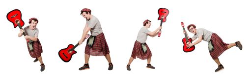 Η scotsman κιθάρα παιχνιδιού που απομονώνεται στο λευκό Στοκ Εικόνα