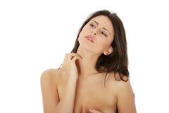 η scraching μόνη γυναίκα της στοκ φωτογραφία με δικαίωμα ελεύθερης χρήσης