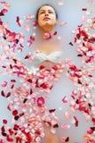 Η SPA χαλαρώνει το λουτρό λουλουδιών Υγεία γυναικών, θεραπεία ομορφιάς, προσοχή σώματος Στοκ Φωτογραφίες