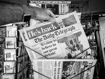 Η Daily Telegraph και ο προηγούμενος πολιτικός UK Boris Jhonson Στοκ Εικόνες
