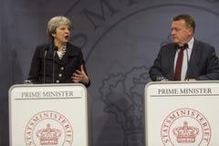 Η Theresa μπορεί δανικός πρωθυπουργός επισκέψεων σε Copepenhagen Στοκ Φωτογραφίες