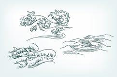 Θάλασσας σχεδίου παραδοσιακό ύφος κυμάτων στοιχείων ιαπωνικό απεικόνιση αποθεμάτων