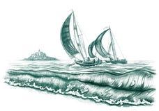 θάλασσα βαρκών διανυσματική απεικόνιση