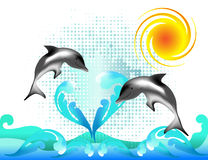 θάλασσα δύο δελφινιών κύμ&alp Στοκ φωτογραφία με δικαίωμα ελεύθερης χρήσης
