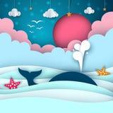 Θάλασσα εγγράφου κινούμενων σχεδίων Φάλαινα, σύννεφο, ήλιος, αστέρι απεικόνιση αποθεμάτων