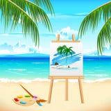 θάλασσα ζωγραφικής παραλιών Στοκ εικόνες με δικαίωμα ελεύθερης χρήσης
