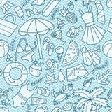 Θάλασσα και καλοκαίρι Άνευ ραφής σχέδιο στο doodle και το ύφος κινούμενων σχεδίων Μπλε κύματα απεικόνιση αποθεμάτων