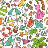 Θάλασσα και καλοκαίρι Άνευ ραφής σχέδιο στο doodle και το ύφος κινούμενων σχεδίων Χρώμα στοκ εικόνες με δικαίωμα ελεύθερης χρήσης