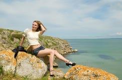 θάλασσα κοριτσιών Στοκ φωτογραφίες με δικαίωμα ελεύθερης χρήσης