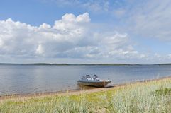 θάλασσα κόλπων ακτών βαρκώ&n Στοκ Φωτογραφίες