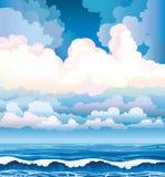 Θάλασσα με τα κύματα και το νεφελώδη ουρανό διανυσματική απεικόνιση