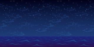 Θάλασσα νύχτας και ουρανός αστεριών Στοκ Φωτογραφίες