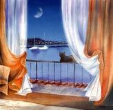 θάλασσα νύχτας Στοκ εικόνα με δικαίωμα ελεύθερης χρήσης