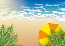 Θάλασσα παραλιών το καλοκαίρι, πορτοκαλιά ομπρέλα κάτω από τη τοπ άποψη δέντρων καρύδων διανυσματική απεικόνιση
