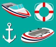 Θάλασσα που τίθεται με τις πλέοντας βάρκες, άγκυρα, lifebuoy Διογκώσιμη βάρκα και βάρκα μηχανών επίσης corel σύρετε το διάνυσμα α ελεύθερη απεικόνιση δικαιώματος