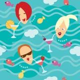 θάλασσα προτύπων κοριτσιών άνευ ραφής Ελεύθερη απεικόνιση δικαιώματος