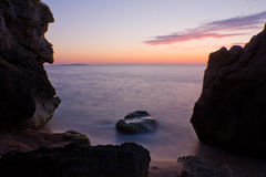 θάλασσα σκηνής βραδιού Στοκ Εικόνες