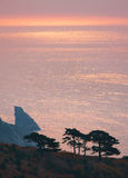 Θάλασσα της Ιαπωνίας. Φθινόπωρο. Ηλιοβασίλεμα στοκ εικόνα
