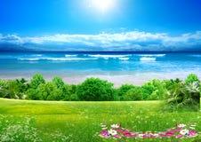 θάλασσα φύσης ανασκόπηση&sig διανυσματική απεικόνιση