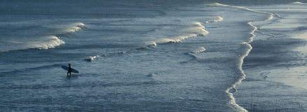 θάλασσα surfer που περπατά Στοκ Εικόνα