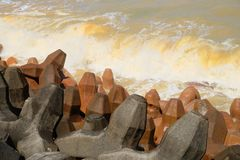 Θάλασσα Yang Yin - Ταϊβάν Μπορέστε να δείτε δύο διαφορετικά χρώματα του νερού στη θάλασσα στοκ εικόνα