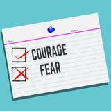 Θάρρος ή φόβος σε χαρτί με το δημιουργικό σχέδιο για την κάρτα χαιρετισμών σας ελεύθερη απεικόνιση δικαιώματος
