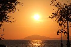 Θάλασσα ηλιοβασιλέματος της Ελλάδας Στοκ Φωτογραφίες