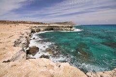 Θάλασσα και αέρας-διαβρωμένοι βράχοι, Κύπρος Στοκ Φωτογραφία
