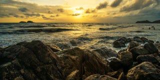 Θάλασσα και ηλιοβασίλεμα Στοκ Εικόνα