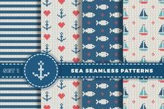 Θάλασσα και ναυτικά υπόβαθρα στα άσπρα, τυρκουάζ, κόκκινα και σκούρο μπλε χρώματα αφηρημένο θέμα θάλασσας ανασκόπησης αφαίρεσης Κ ελεύθερη απεικόνιση δικαιώματος