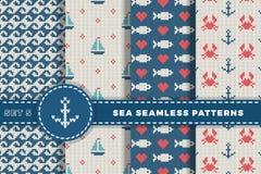 Θάλασσα και ναυτικά υπόβαθρα στα άσπρα, τυρκουάζ, κόκκινα και σκούρο μπλε χρώματα αφηρημένο θέμα θάλασσας ανασκόπησης αφαίρεσης Κ διανυσματική απεικόνιση