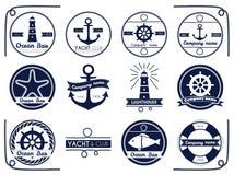 Θάλασσα και ναυτικοί ασβός και ετικέτα Στοκ εικόνες με δικαίωμα ελεύθερης χρήσης