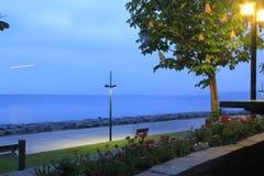 Θάλασσα, λουλούδια και λαμπτήρας οδών στοκ φωτογραφίες με δικαίωμα ελεύθερης χρήσης