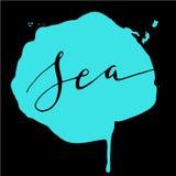 Θάλασσα παφλασμών watercolor καλλιγραφίας Στοκ φωτογραφίες με δικαίωμα ελεύθερης χρήσης