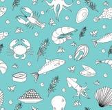 θάλασσα προτύπων ζωής άνευ Υποβρύχιο ατελείωτο υπόβαθρο, σύσταση Σχέδιο χεριών, σκίτσο, γραμμή, doodle ύφος διάνυσμα απεικόνιση αποθεμάτων