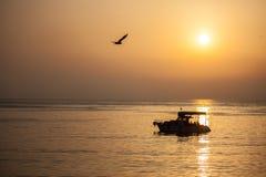 Θάλασσα, σκάφος και πουλί Στοκ φωτογραφίες με δικαίωμα ελεύθερης χρήσης