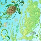 Θάλασσα σχεδίων χεριών doodle, ωκεανός Στοκ Εικόνα