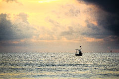 Θάλασσα τοπίων με τη βάρκα Στοκ Φωτογραφίες