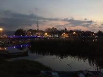 Θάλασσα του Bursa Golyazi και χρόνος ηλιοβασιλέματος Στοκ Εικόνες