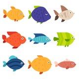 Θάλασσα, τροπικός, εικονίδια ψαριών ενυδρείων καθορισμένα διανυσματική απεικόνιση