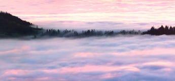 Θάλασσα Carpathians της Misty Στοκ φωτογραφία με δικαίωμα ελεύθερης χρήσης