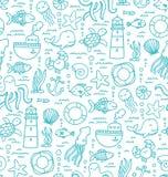 Θάλασσα doodles απεικόνιση αποθεμάτων