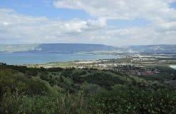 Θάλασσα Galilee, τα ύψη Γκολάν Στοκ Εικόνα