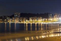 Θάλασσα Niteroi Icarai παραλιών άποψης νύχτας στοκ φωτογραφία